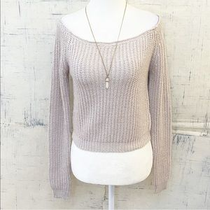 LF SEEK The Label Off the Shoulder Cropped Sweater